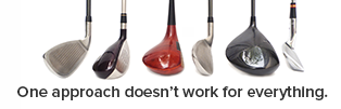 Image: Six different golf clubs; text: One approach doesn